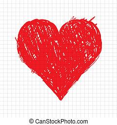 serce, rys, formułować, projektować, twój, czerwony
