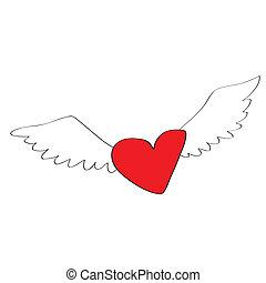 serce, rysunek, anioł