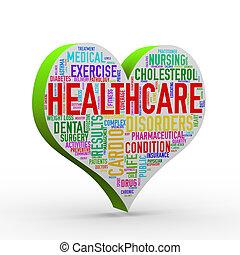 serce, skuwka, healthcare, 3d, wordcloud, formułować, render