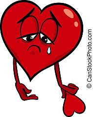 serce, smutny, rysunek, ilustracja, złamany