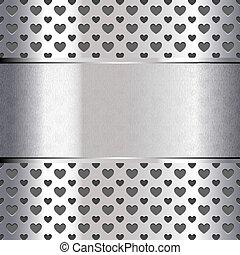 serce, struktura, metaliczny, formułować, tło, perforowany