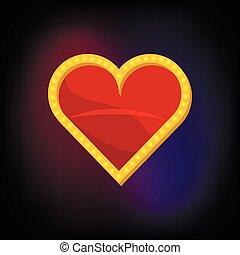 serce, styl, garnitur, ikona, rysunek, karta