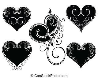 serce, styl, kolor, rocznik wina, ilustracja, valentine, day., formułować, wektor, projektować, tło, kwiatowy, czarnoskóry, biały, ozdobny, isloated