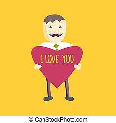 serce, styl, mówi, biznesmen, you., koszula, projektować, płaski, wektor, zielony, dzierżawa, krawat, miłość, biały, wąsy