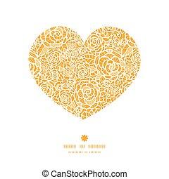serce, sylwetka, koronka, złoty, próbka, ułożyć, róże, wektor