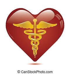 serce, symbol, kaduceusz, medyczny