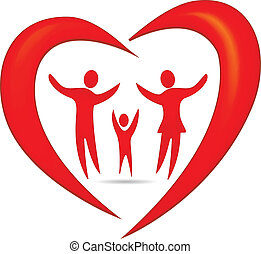 serce, symbol, wektor, rodzina