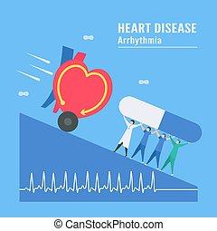 serce, tło, mocny, tachycardia, choroba, response., sygnał, wektor, kardiologia, illustration., nazwany, arrhythmia., problem, błękitny, okresowy, impuls