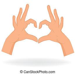 serce, tło., ręka, podobny, seamless