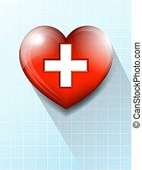 serce, tło, symbol, medyczny