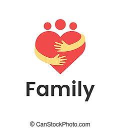 serce, uścisk, grupa, rodzina, ludzie, graphic., wektor, projektować, szablon, logo, abstrakcyjny