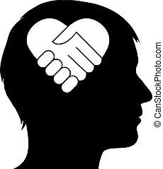 serce, uzgodnienie, samiec, sylwetka