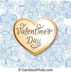 serce, valentine karta, złoty