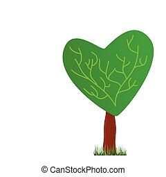 serce, wektor, drzewo, ilustracja