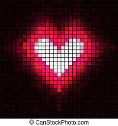 serce, wektor, illustration., mosaic.