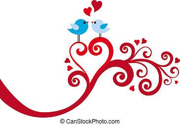 serce, wektor, miłość, wir, ptaszki