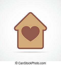 serce, wektor, wewnątrz w domu., ilustracja, dom