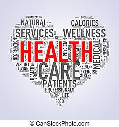 serce, wordcloud, pojęcie, zdrowie, healthcare