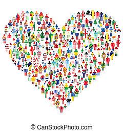 serce, wszystko, robiony, miłość, ludzie, ludzie., bandery, world., concept;