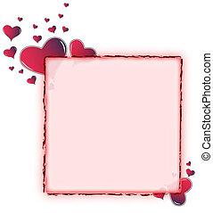 serce, zaokrąglony, ułożyć, -, amarant, czerwony