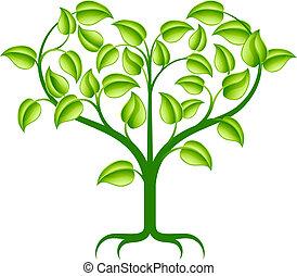 serce, zielone drzewo, ilustracja