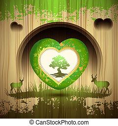 serce, zielone drzewo