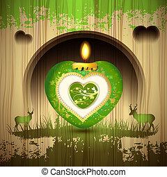 serce, zielony, świeca