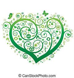 serce, zielony