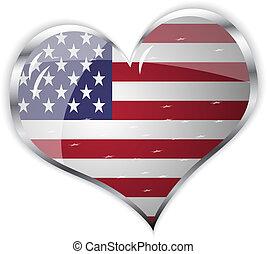 serce, zjednoczony, bandera, formułować, stan, ameryka