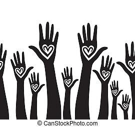 serce, zjednoczony, podobny, ludzie, seamless, ręka, tło.