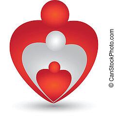 sercowa forma, wektor, rodzina, logo