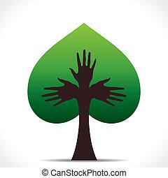 sercowa forma, zielone drzewo