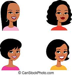 seria, avatar, rysunek, kobieta, afrykanin
