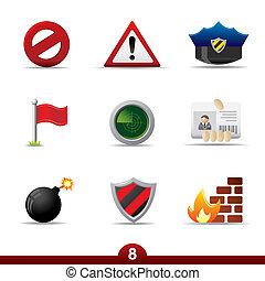 seria, -, bezpieczeństwo, ikona