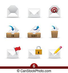 seria, ikona, -, poczta