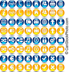 seria, ikony, -, połyskujący, sieć