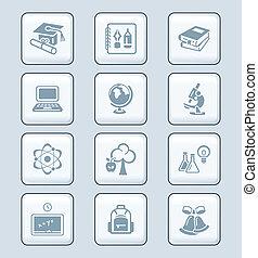 seria, wykształcenie, tech,  , ikony