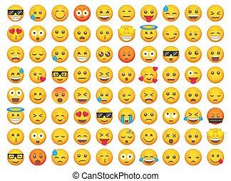 set., emoji, uśmiech, wektor, rysunek, komplet, cielna, emoticon, icons.