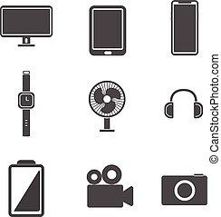 set., odizolowany, ilustracja, wektor, tło, biały, elektronowy, concept., ikona