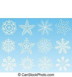 set., wektor, płatek śniegu, illustration.