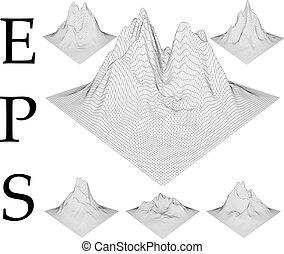 set., wireframe, góry