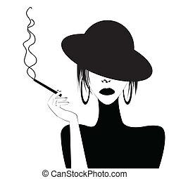 sexy, abstrakcyjny, kobieta, palenie, portret