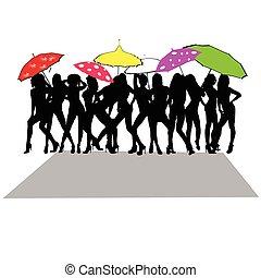 sexy, dziewczyna, wektor, parasol