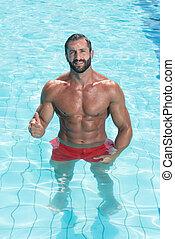 sexy, pływacki wrębiają, człowiek