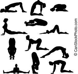 sexy, silouettes, yoga