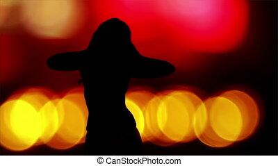 sexy, tancerz, sylwetka, cień