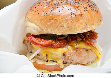 sezam, ser, kurczak, kok, hamburger