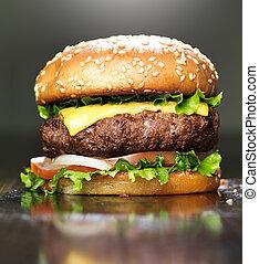 sezam, ser, stopiony, kok, hamburger