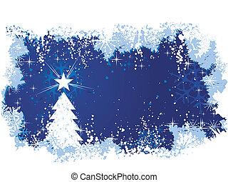 sezonowy, błękitny, wielki, grunge, zima, elements., przestrzeń, tło, abstrakcyjny, themes., text., drzewo, /, boże narodzenie, śnieg, lód, gwiazdy, twój