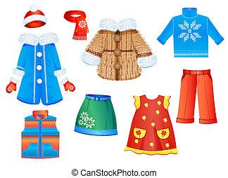 sezonowy, komplet, dziewczyny, odzież